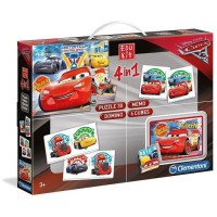 CLEMENTONI Edukit 4 en 1 - Cars 3 - Mémo, Domino, Puzzle et Cubes