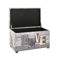 Coffre de rangement en simili gris - Motif Love - 65 x 40 x 42 cm