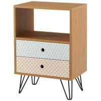 COLETTE Table d'appoint vintage décor chene et imprimé + pieds métal noir laqué - L 45 x l 29 cm