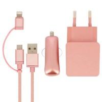 Colorblock Pack Chargeur voiture + Secteur + Câble micro-USB / Lightning - Rose