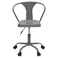 COMETE Chaise de bureau - Métal gris anthracite brillant - Industriel - L 35,5 x P 37 cm