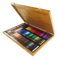 CONTE A PARIS Coffret bambou 84 carrés + Crayons + Accessoires