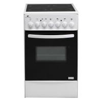 Continental Edison CVMC5060W - Cuisiniere table vitrocéramique-4 foyers- 1700W- Four électrique-Catalyse-45,36L-B-L49XH83-Blanc