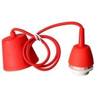 Cordon électrique pour suspension douille E27 60W max, câble tissu tressé rouge longueur 100cm