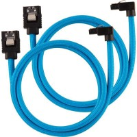 CORSAIR Câble gainé Premium SATA 6Gbps Bleu 60cm 90° - (CC-8900285)