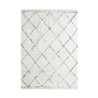 COTTON BERBERE Tapis de salon - 160 x 230 cm - 100 % coton - Ecru naturel - Motif losange