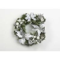 Couronne décorative de Noël en PVC - Ø 30 cm - Argent