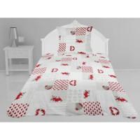 Couvre-lit boutis matelassé Coralie - 180 x 220 cm - Rouge et blanc