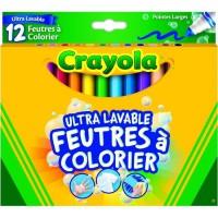 Crayola - 12 Feutres a colorier ultra lavables - boîte française - se nettoie sans frotter