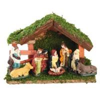 Creche de Noël avec 9 santons en porcelaine non collés - 23x16 cm