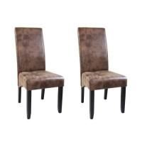 CUBA Lot de 2 chaises de salle a manger - Tissu marron - Style contemporain - L 48 x P 64 cm