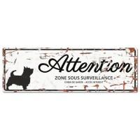 D&D Plaque Attention Chien Terrier - Blanc