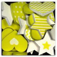 D.I.Y WITH TOGA Pack de 25 Confettis Bois Coeurs / Etoiles - Vert
