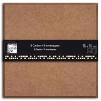 D.I.Y WITH TOGA Pack de 5 Doubles Cartes / Enveloppes Kraft 15x15