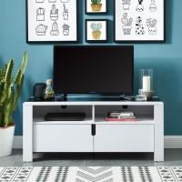 DAMIA Meuble TV contemporain blanc et plateau en verre trempé noir - L 120 cm