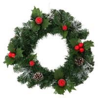 Décoration de Noël Couronne Tradition avec décors Pommes de pin et Pommes - Ø 40 cm - Vert, blanc et rouge
