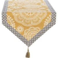 DEKOANDCO Chemin de table Dentelle - 45x150 cm - Finition pointe avec pompons amovibles- Imprimé safran