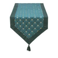 DEKOANDCO Chemin de table Riviera - 45x150 cm - Finition pointe avec pompons amovibles- Imprimé vert