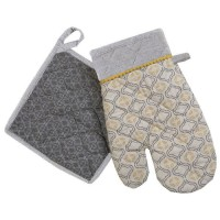 DEKOANDCO Gant et manique Rhodes - Imprimé jaune et gris