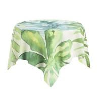 DEKOANDCO Nappe carrée végétal blanc - 100x100 cm - 4 pompons amovibles- Imprimé vert