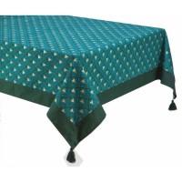 DEKOANDCO Nappe rectangulaire Riviera - 140x250 cm - 4 pompons amovibles- Imprimé vert