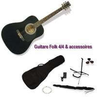 DELSON Pack Guitare Folk Montana noir + accessoire
