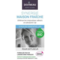 DEVINEAU Huile essentielle pour diffuseur - Parfum d'ambiance 100% biologique - 10 ml - Synergie maison fraîche