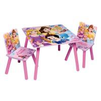 DISNEY PRINCESSE Table et 2 chaises enfant en bois MDF