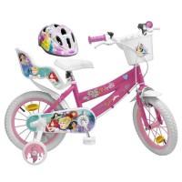 """DISNEY PRINCESSE Vélo 16"""" + Casque - Enfant fille - Rose et blanc"""