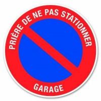 """Disque de signalisation """"Garage stationnement interdit"""" - PVC adhésif - Ø 280 mm"""