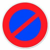 """Disque de signalisation """"Stationnement interdit"""" - PVC adhésif - Ø 170 mm"""
