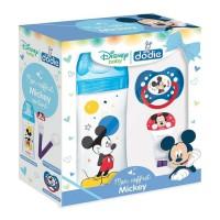 DODIE Mon Coffret Mickey (1 biberon Initiation+ 330ml bleu, 1 sucette anatomique +18M, 1 attache sucette) - Disney Baby