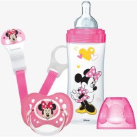 DODIE Mon Coffret Minnie (1 biberon Initiation+ 330ml rose, 1 sucette anatomique +18 mois, 1 attache sucette) - Disney Baby