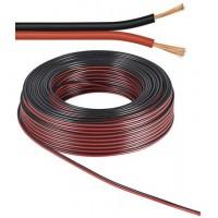 câble haut-parleur / CU rouge noir Rouleau de 25 m, diamètre 2x0,5 mm²