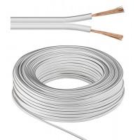 câble de haut-parleur blanc CU Rouleau de 50 m, diamètre 2x2,5 mm²
