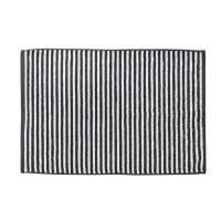DONE Tapis de bain Daily Shapes Stripes - 50x70 cm - Gris anthracite et blanc