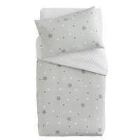 DOUX NID Parure Couette + Taie Little Stars Imprimé Etoiles Gris