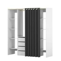 DRESS Kit dressing extensible blanc + rideau contemporain anthracite - L 112-185 cm