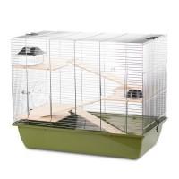 DUVO Cage Natural Charlie 3 - 70x40x57,5 cm - Vert olive et zinc - Pour rongeurs