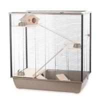 DUVO Cage Natural Fargo - 78x48x80 cm - Moka et zinc - Pour rongeurs