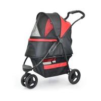 DUVO Pet Buggy - 87,5x51,5x110 cm - Noir et rouge - Pour chat et chien