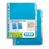 ELBA Lot de 2 intercalaires A4+ Color Life - 220g - 6 positions