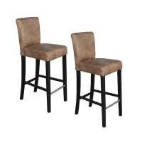 ELVIS Lot de 2 tabourets de bar - Tissu marron vintage - Contemporain - L 39 x P 49,5 cm