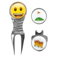 EMOJI Boîte avec Releve-pitch et Marqueur de Balle de Golf Heureux et Biere - Chromé