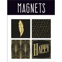 EMOTION Lot de 4 magnets style Precious Black - Noir et or