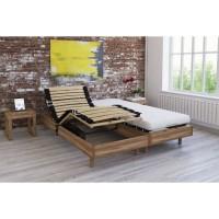 Ensemble relaxation matelas + sommiers électriques décor chene 2x80x200 - Mousse - 14 cm - Ferme - TALCA