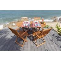 Ensemble repas de jardin pliable - table 160x85cm et 4 fauteuils - Bois et eucalyptus