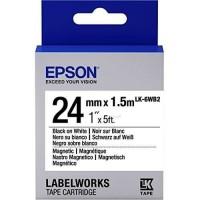 EPSON Ruban LK-6WB2 Magnétique - Noir / Blanc - 24 / 1,5