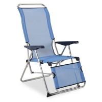 EREDU Fauteuil camping Relax 5 Positions 852/Tx - Aluminium et PVC Tissé - Bleu et Gris camping