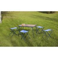 EREDU Set Table camping avec Tabourets 541/Tx - 95x60 cm - Marron et Bleu